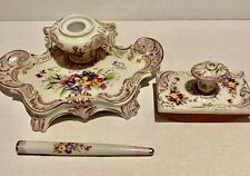 RARE ANTIQUE GERMAN 3 PIECE PORCELAIN DESK SET