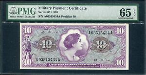US 1969, Series 651,Military Payment 10 Dollars, M74,PMG 65 EPQ GEM UNC