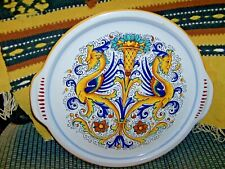 "Italy Tuscany 13 1/2"" Tab Handle Platter Faces Blue Green Yellow Orange"