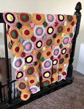Vintage Colorful Boho Granny Square Crochet Throw Blanket Decor