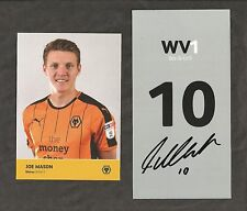 Hand Signed Number 10 JOE MASON Wolves Wolverhampton Wanderers Football Club