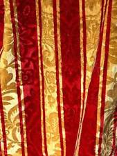 """Early 19Thc Velvet Striped Curtain With Inwoven Relief Flowers & Fringes 135"""" !"""