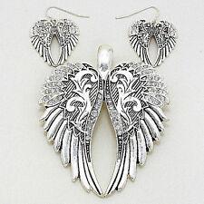 Angel Wings Pendant Earrings SET Metal Pave SILVER Rhinestones Filigree Jewelry