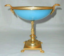 Antique PORTIEUX French Blue OPALINE Compote Gold Rim,Claw Feet & Mounted Eagles