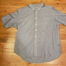 Mens Short Sleeve XXL 2X Navy Blue White Checkered Shirt Button  Business Dress