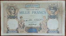 Billet de 1000 francs CÉRÈS et MERCURE 2 avril 1930 FRANCE Q.876  021 (cf photo)