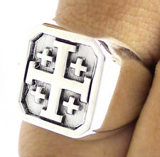 CRUSADER KNIGHT CROSS OF JERUSALEM SOLID 925 STERLING SILVER MENS RING Sz 8 NEW