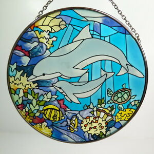 """Dolphins and Reef Sun Catcher AMIA Hand Painted Glass 6.5"""""""