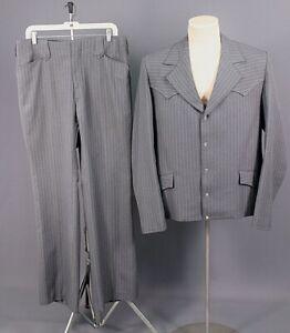 Men's 1960s 70s Tregos Western Wear Leisure Suit Jacket 44L Pants 35x32 60s Vtg