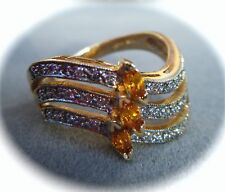 DIAMOND & SAPPHIRE 14K YELLOW GOLD RING S7.5 NEW FRANKLIN MINT