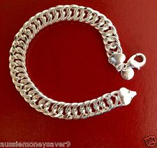 Thick 925 sterling silver P Mens Bracelet Link chain 10mm  FREE GIFT B  AU