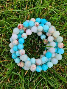 Turquoise, Sea Sediment Ocean Jasper & Blue Amazonite Healing Bracelet