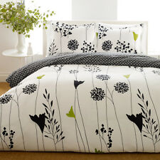 BEAUTIFUL MODERN CHIC BLACK WHITE GREEN BRANCH LEAVES DUVET SET FULL QUEEN szs