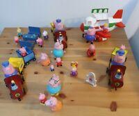 Peppa Pig Figures Aeroplane Trains Weebles Bundle holiday peppa grandad mummy