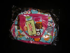 N. Gil Aqua Blue Chevron Owl Insulated Lunch Bag with Hot Pink Handles - NIB!