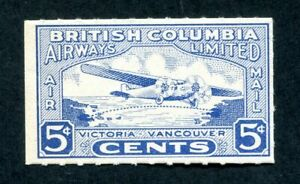 x0516 - Canada #CL44 British Columbia Airways 1928 Airmail Stamp. Mint OG
