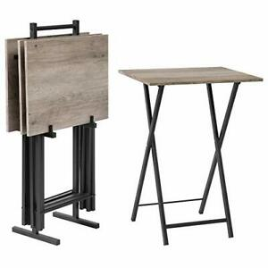 Folding TV Tray Tables, Set of 4 TV Trays with Storage Rack, Greige + Black