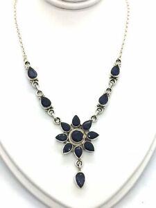 "Solid Sterling Silver & Genuine Blue Iolite 16"" Necklace"
