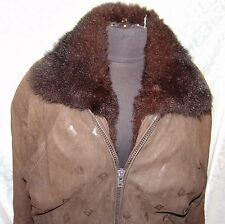 Mademoiselle Furs Embossed Leather New Zealand Opossum Lining Coat L Womens