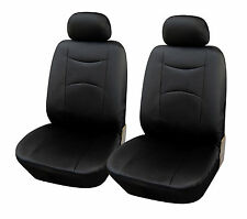 2 Car Seat Covers Vinyl Leather Compatible to Kia 859 Black