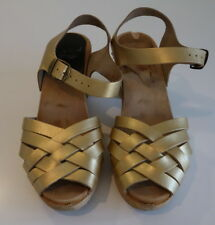Funkis Gold Super High Braided Swedish Leather Clogs Size 41