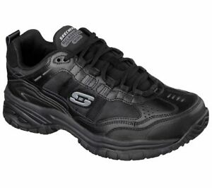 Skechers 77042 Mens Work Relaxed Fit Soft Stride Mavin Shoes Black A1