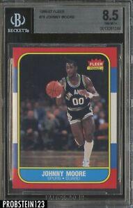 1986-87 Fleer Basketball #76 Johnny Moore San Antonio Spurs BGS 8.5 NM-MT+