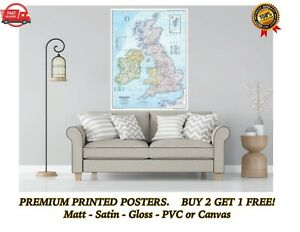 Great Britain GB UK Map Large Poster Art Print Gift A0 A1 A2 A3 A4 Maxi