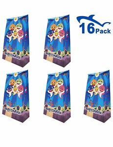 16 Pack Baby Shark Party Gift Bags - Cute Paper Treat Bags For Kids Birthday