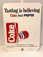 Rare 1980's Coca-Cola Tasting Is Believing Coke Beats Pepsi Cardboard Poster