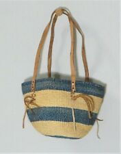 Vintage Jute Straw Hand Woven Blue & Tan Market Basket Leather Straps Handbag