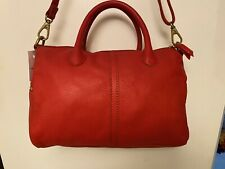 Fossil Leather Red Satchel Crossbody Bag Purse  91