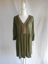 NEW Knox Rose Boho Hippie Chic Shirt Dress Emboridered Cutout Cold Shoulder M