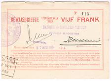 RR   NOODGELD / BILLET DE NECESSITE     STAD  ROESELARE    5 fr   WW I   1914