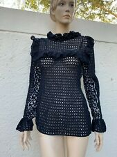 Amazing Vintage Black See Through Crochet Bohemian Top W/ Ruffles