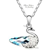 18K White Gold Filled Made With Swarovski Element Aquamarine Swan Necklace