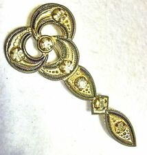 Antique Art Nouveau Rhinestone Stamped Brass Stick Pin, Hat Pin 2 5/8""