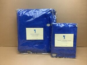 NEW Pottery Barn Kids TWIN Duvet Cover - Blue Corduroy Turtle Embroidery & SHAM
