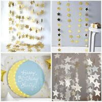 4M Paper Garland Strings Star Romantic Wedding Party Home Hanging Decor Silver