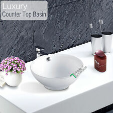 Bathroom Round Above Counter Top Ceramic Basin Bowl Sink w Overflow White 375mm