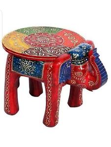 Wooden Decorative Hand Painted Elephant Stool, Home Decor Handicrafts,Home Decor