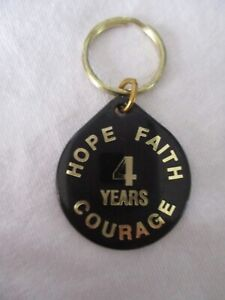 CA Cocaine Anonymous true vintage black 4 years recovery support chip key ring
