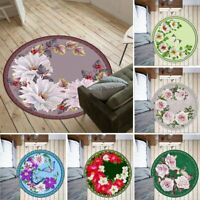 Romantic Flowers Non-slip Round Soft Area Rug Floor Carpet Door Mat Home Decor