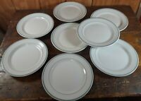 """Set of 8 Dinner Plates Shenango China Double Green Ring Restaurant Ware 9"""" AS IS"""