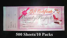 500 Sheets Professional Nail Beauty Salon Gift Certificates 10 Booklets - Pink