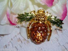 "Exquisite JOAN RIVERS ""PINECONE"" BEE Brooch w/Brilliant Crystals NIB"