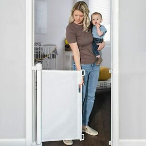 """YOOFOR RETRACTABLE BABY/PETS SAFETY MESH GATE 33"""" TALL & UP TO 55"""" WIDE, WHITE"""