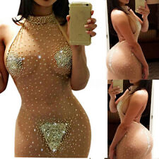 Women's Sexy See Through Sheer Party Evening Cocktail Bodycon Short Mini Dress