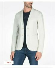 EUC A/X ARMANI EXCHANGE men's lightgray w/blue pinstripe cotton twill blazer szL