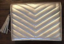 "NEW Neiman Marcus Clutch Handbag SILVER 9"" X 7"" X 1"""